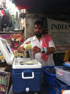 """On the Chennai food trail: Anmol Lassiwalla: The owner is a former wrestler and looks the part. """"Muh kadwa hai par dil achcha hai,"""" he says about himself while doling out large steel glasses of kesar lassi and chaas. Delicious as it may be, doing a bottoms-up with the glass is quite a task. Sharing is the best option."""