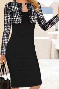 Elegant Round Collar Plaid Splicing Long Sleeve Dress For WomenBodycon Dresses | RoseGal.com