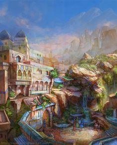 Evening sun by ~SnowSkadi on deviantART building style, tunnel to somewhere else?