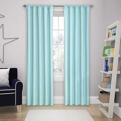 Solar Shield Microfiber Rod Pocket 63 Inch Room Darkening Window Curtain  Panel In Blue #BestBlackoutCurtainsforBedrooms