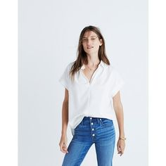 """You asked for it—our feminine take on a slightly oversized shirt returns, this time in a drapey white weave. Effortless and cool with a soft silhouette and easy, open sleeves. Body length: 27 1/2"""".Slightly oversized fit.Cotton/Modal® rayon.Machine wash.Import."""