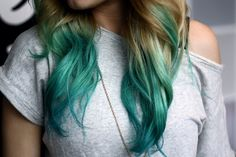 Turquoise tips on dirty blonde hair