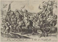 Hieronymus Wierix | Volwassenheid, Hieronymus Wierix, Ambrosius Francken (I), 1563 - before 1619 | Allegorie op de volwassenheid, corresponderend met de vier tijden van de dag en de vier jaargetijden. Op de triomfwagen van de Avond (Vesper) zitten Tweedracht (Discordia), Gierigheid (Avaritia) en Ziekte (Aegritudo), vergezeld door twee oude mannen. De wagen wordt getrokken door twee paarden, bereden door Fraude (Fraus) en Onverschilligheid (Cura). De stoet wordt voorgegaan door een kreupele…
