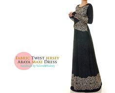 Side Twist Long Sleeves Jersey Abaya Maxi Dress - Size M/L or 1X/2X (6152 / 2769) FREE SHIPPING! by Tailored2Modesty on Etsy