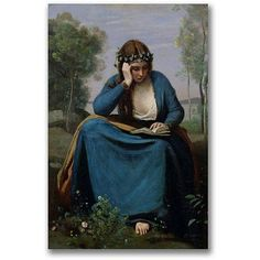 Trademark Fine Art The Reader Crowned with Flowers Canvas Wall Art by Jean Baptiste Corot, Size: 35 x 47, Multicolor