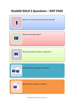 """Pam Hook on Twitter: """"Great to see HookED SOLO 5 questions being used as an exit strategy this week #SOLOTaxonomy http://t.co/ZenUrtvyVL http://t.co/3gMOl2fteK"""""""
