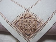 Hardanger Embroidery a simple reticella Types Of Embroidery, Embroidery Patterns Free, Lace Patterns, Hardanger Embroidery, Lace Embroidery, Cross Stitch Embroidery, Needle Lace, Bobbin Lace, Drawn Thread