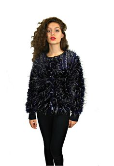 Dark blue faux fur short coat by BASHamsterdam on Etsy, $70.00