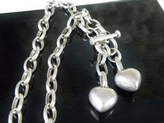 Vintage Solid Mexico Sterling Silver 925 Heart Charm Oval Link Toggle Necklace #Handmade #Choker