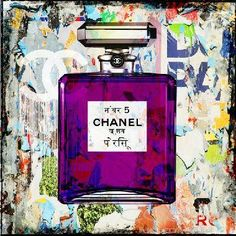 CHANEL HINDU Pop Art Fashion and Faces Beautiful original painting with mixed media technique Cobra Art Company
