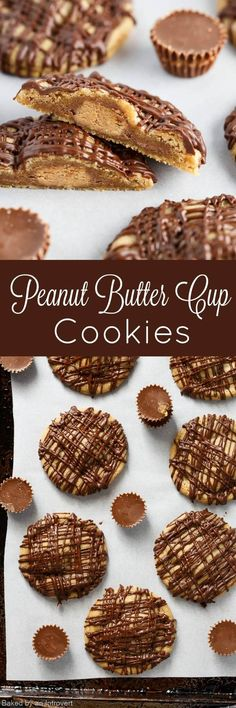This Peanut Butter Cup Cookies recipe is so good! Bake up a batch today and swoon over their rich chocolate peanut butter flavor. Each peanut butter cookie is stuffed with a miniature peanut butter cup and drizzled with melty chocolate. Even those who dislike peanut butter will go nuts for these cookies!