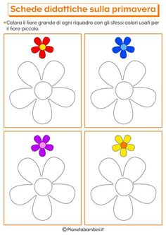 Spring Educational Cards for the School of Childhood .- Schede Didattiche sulla Primavera per la Scuola dell'Infanzia Educational Cards on Spring for the Nursery School Preschool Science Activities, Montessori Activities, Color Activities, Activities For Kids, Crafts For Kids, Math Patterns, Kids Math Worksheets, Flower Coloring Pages, Math For Kids
