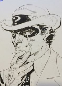 The Riddler by Jim Lee Comic Book Artists, Comic Artist, Comic Books Art, Batman Drawing, Batman Art, Marvel Comic Character, Character Art, Human Face Drawing, Jim Lee Art