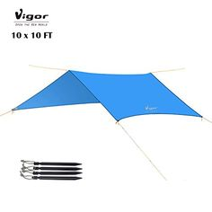 I just used this last weekend  Vigor Water-Resistant Lightweight Rainfly 10×10 ft Rain Fly Large Tent Tarp for Camping, Blue follow this link click here http://bridgerguide.com/vigor-water-resistant-lightweight-rainfly-10x10-ft-rain-fly-large-tent-tarp-for-camping-blue/ for much more detail about it. Thanks and please repin if you like it. :)