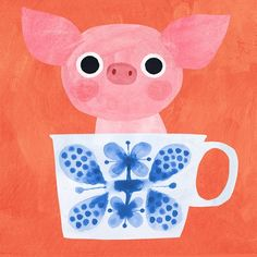 Piglet + tea time for 🐖 Every week they choose 2 random words and the challenge is to combine both into an illustration. Pig Art, Cute Piggies, Baby Pigs, Children's Book Illustration, Nursery Art, Animal Drawings, Cute Art, Art Lessons, Art For Kids