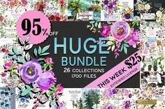 Watercolor Floral Graphic Bundle by whiteheartdesign on @creativemarket