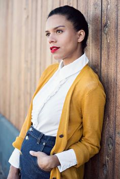 prepster » STYLE ME GRASIE // The preppy look I wore to an audition. High waist denim skirt, ruffled white button down, mustard cardigan and penny loafers // #ootd #prepster #topknot