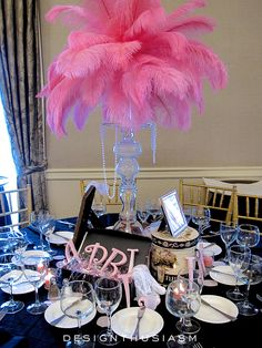 My friend Cathy asked me to help her style the decor for an event, creating a ballroom full of April in Paris centerpieces. Paris Theme Centerpieces, Non Floral Centerpieces, Mardi Gras Centerpieces, Paris Birthday Parties, Birthday Party Decorations, Birthday Ideas, Quince Decorations, Spa Birthday, Birthday Cards