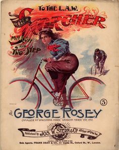 The Scorcher bicycle, 1890's poster