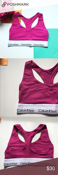 CK Magenta Bralette Magenta pink/purple Calvin Klein racerback style bralette/sports bra. Part of the modern cotton collection. Seriously the softest material ever. Celeb favorite. Reasonable offers can be made through the offer button 😊 Will also bundle with other CK bralette and panties for sale in my closet for a discount 👍🏻 Also available in gray. Matching Boyshort panty also available!   Condition: Brand new, never worn.  🚫Trades  Please ask any questions prior to purchasing. All…