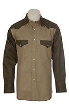 Cowboy Work Wear Olive and Khaki 2 Tone Snap Work Shirt