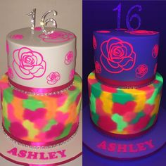 Two tier neon cake under normal light and under black light for sweet sixteen glow in the dark party!!                                                                                                                                                                                 More