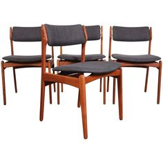 Erik Buch Mid-Century Teak Dining Chairs | From a unique collection of antique and modern dining room chairs at https://www.1stdibs.com/furniture/seating/dining-room-chairs/