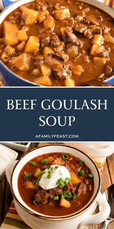 Hearty and delicious Beef Goulash Soup includes tender chunks of beef and potatoes in a rich tomato and paprika broth. Beef Goulash Soup, Goulash Soup Recipes, Chowder Recipes, Entree Recipes, Easy Dinner Recipes, Breakfast Recipes, Slow Cooker Recipes, Crockpot Recipes, Cooking Recipes