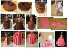 Barbie doll cake how-to Barbie Birthday Party, Barbie Party, Birthday Cake, Diy Birthday, Birthday Ideas, Beautiful Cakes, Amazing Cakes, Bolo Barbie, Barbie Doll