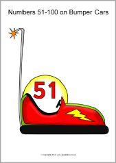 Numbers 51-100 on bumper cars (SB9368) - SparkleBox