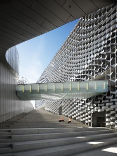 """A view of the grand staircase at the new Emerson College los Angeles building on Sunset Boulevard. """"I'm interested in how buildings connect socially and shape human behavior,"""" says architect Thom Mayne. """"And if they're not somehow affecting human behavior, to me they're decorative and I'm not interested in that."""""""