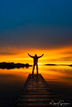SUNSET -- Stensholmen, Göteborg #sky blue sun orange yellow men lake reflection seascape nature amazing
