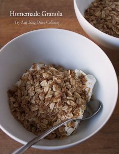 Homemade Granola | www.tryanythingon... | No sugar added, this gluten free granola uses natural sweetness to make this the best granola that I have ever made. The honey is optional. | #granola #homemade #cereal #glutenfree #sugarfree #coconutoil #honey