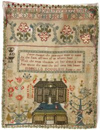 """Philadelphia Museum of Art - Sampler  Made in Scotland, 1829  Embroidered by Isabella Douglas, Scottish, born c. 1818  Wool plain weave with silk and wool embroidery in cross, running, satin and eyelet stitches.  Isabella Douglass bordered her home with her relatives' initials, including """"AD"""" and """"AR"""" for her parents, Andrew Douglas and Agnes Ritchie.  The use of her mother's maiden name was not unusual; it was tradition for wives to retain their maiden names since the 16th century in…"""