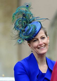 •❈• The Countess of Wessex wearing Jane Taylor peacock pieces at the Royal Easter Sunday Service.