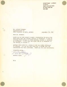 Letter Herbert Bayer, 1967