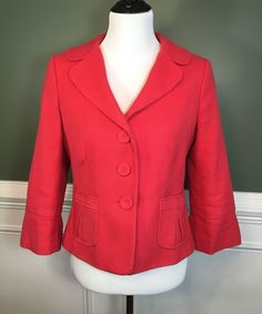 Women's ANN TAYLOR Coral Pink Cotton Lined Blazer Jacket  Size 8 Eight #AnnTaylor #Blazer