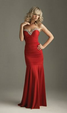 Ruching Strapless Sweetheart Elegant Mermsaid Red Prom Dress