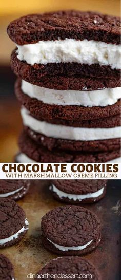 Chocolate Sandwich Cookies that are rich and chewy with a creamy marshmallow filling just like from your favorite bakery! Chocolate Sandwich Cookies that are rich and chewy with a creamy marshmallow filling just like from your favorite bakery! Marshmallow Creme, Chocolate Marshmallow Cookies, Cake Chocolate, Mint Chocolate, Cookies With Marshmallows, Marshmallow Filling Recipe, Chocolate Chips, Marshmallow Desserts, Baking Chocolate