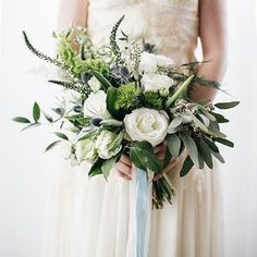 Gaudí Minimal Geometric Wedding Inspiration white and green bouquet with eucalyptus and thistle by Belovely Floral and Event Design. Blue Wedding Flowers, White Wedding Bouquets, Bridal Flowers, Floral Wedding, Wedding Colors, Trendy Wedding, Bridesmaid Bouquets, Green Bouquets, Green Wedding