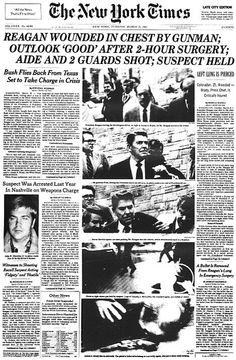 March 30, 1981:  Reagan shot on this day