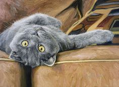 Cat Painting - Playful by Lucie Bilodeau