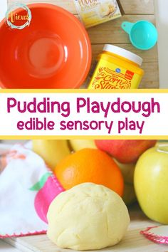 This pudding playdough recipe is the perfect way to play and taste, all in one! With very few ingredients, you can create hours of fun! Edible Sensory Play, Sensory Play Recipes, Playdough Activities, Activities For Kids, Playdough Diy, Preschool Ideas, Edible Slime, Preschool Centers, Preschool Bible
