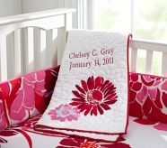 Like the applique and the simple binding on this pottery barn kids blanket