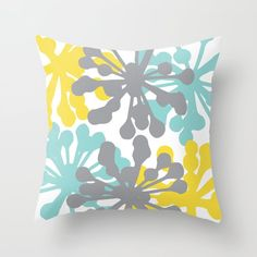 Modern Flowers Throw Pillow - Blue Yellow Grey Pillow - Modern Flower Pillow - Home Decor - By Aldari Home Grey Pillows, Modern Pillows, Blue Throw Pillows, Throw Cushions, Designer Throw Pillows, Throw Pillow Covers, Decorative Throw Pillows, Toss Pillows, Blue And Yellow Living Room