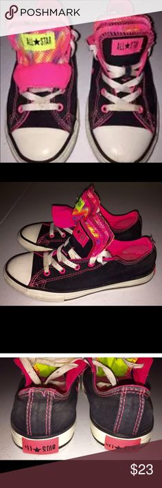 Converse All Star Fashion Sneakers Girls Size 3 Cute pair of girls fashion sneakers from Converse All Star.  They are a size 3 in black and pink.  Multiple tongues that fold over.  Good condition. Converse Shoes Sneakers