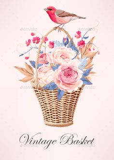 Buy Vintage Basket with Flowers by Greylilac on GraphicRiver. Vector illustration of vintage basket with beautiful roses Rose Basket, Vintage Baskets, Vector Pattern, Beautiful Roses, Retro, Flyer Design, Pet Birds, Vector Free, Flowers
