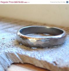 GOLD ON SALE Rustic Hammered 14k White Gold Wedding Ring on Etsy, $675.33 CAD