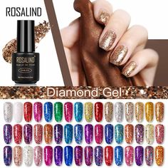 Cheap Nail Polish, Uv Gel Nail Polish, Uv Gel Nails, Nail Manicure, Glitter Gel Nails, Vernis Semi Permanent, Diamond Glitter, Hot Nails, Nail Art Diy