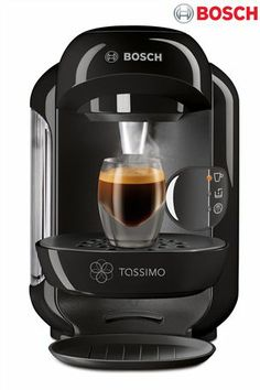 Tassimo by Bosch Vivy Bar Coffee Machine - Black. Caramel Latte, Cafetiere, Things To Buy, Stuff To Buy, Laque, Capsule, Bosch, Argos, Drip Coffee Maker